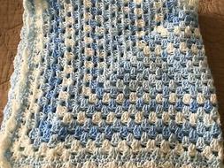 BEAUTIFUL NEW HANDMADE CROCHET BABY BLANKET/AFGHAN - BLUE MU