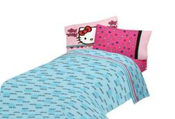 Hello Kitty Bed Set Full Size 4 Piece Blue Pink Flat Fitted