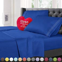 Twin Size Bed Sheets Set Royal Blue, Highest Quality Bedding
