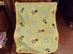 Bees Fleece Baby Blanket with Crochet Edging Handmade Yarn