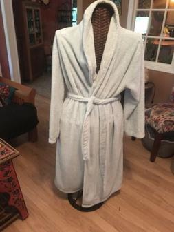 Berkshire Blanket Velvet Soft BABY BLUE BATH ROBE w/ Plush C