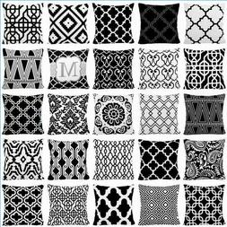 Black & White Premium Accent Throw PILLOW COVER Sofa Couch C