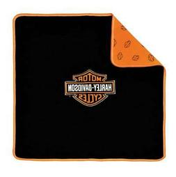 Harley-Davidson Black and Orange Receiving Blanket