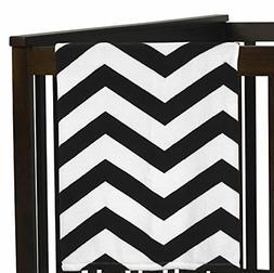 Sweet Jojo Designs Black and White Chevron Plush Fleece Thro