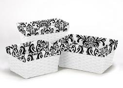 Black White Damask Organizer Storage Kid Basket Liner Fit Sm