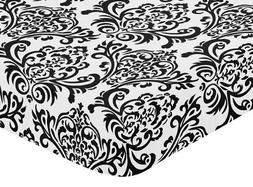 Sweet Jojo Designs Black and White Isabella Fitted Crib Shee