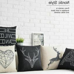 Black White Nordic Deer Animal Heart Flax Linen Pillow Case