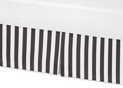 Sweet Jojo Designs Black and White Stripes Crib Bed Skirt Du