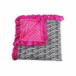 Black White Small Zebra Hot Pink Dots Minky Baby Blanket