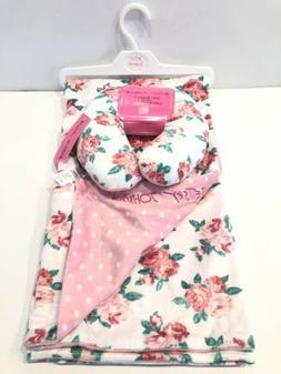 Blanket & Neck Support Pillow Betsey Johnson Pink Rose Polka