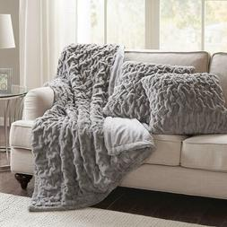 Blanket and Pillow Case Set Soft Faux Fur Throw Grey Gray Po