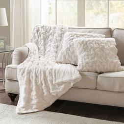 Blanket and Pillow Case Set Soft Faux Fur Throw Ivory White