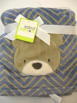 BLANKET BABY STARTERS BEAR BLUE TAN BROWN CHEVRON ALL PURPOS