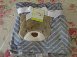 BLANKET BABY STARTERS BEAR ZIGZAG BLUE TAN BROWN CHEVRON ALL