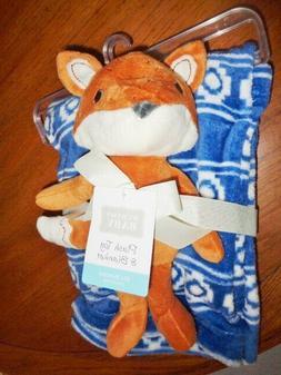 Blanket Blue Aztec print & Orange FOX stuffed Plush Toy Huds