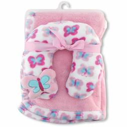 Cribmates Blanket with Neck Support, Pink/Blue/White Butterf