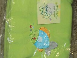 NOJO BLANKET OCEAN DREAMS GREEN EMBROIDERED FISH FLEECE LITT