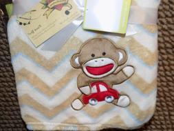BLANKET SOCK MONKEY CAR BABY STARTERS ZIGZAG STRIPES CREAM A