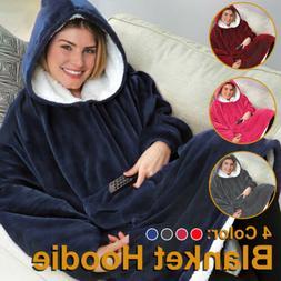 Blanket Sweatshirt Lining Plush Comfy Fleece Oversized Hoodi