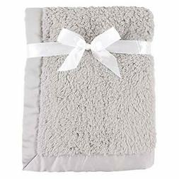 Hudson Baby Blanket, Dotted Mink with Satin Binding, Gray Sh