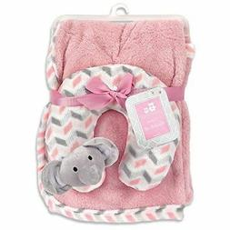 Cribmates Blanket with Neck Support, Pink/Grey/White Elephan