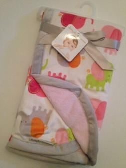 Blankets And & Beyond Baby Girls Pink Grey Elephant Blanket