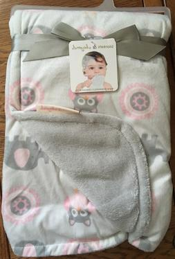 Blankets And & Beyond Baby Girls Pink Grey Elephant Owl Blan