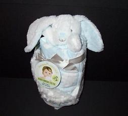 Blankets and & Beyond Blue White Bunny Cloud Baby Blanket Se