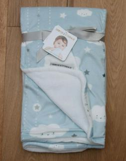 Blankets & Beyond Baby Boy Blanket ~ Blue, Gray & White ~ Cl