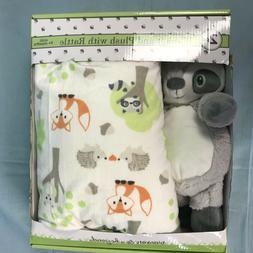 "Blankets & Beyond Baby Gift Set Plush Raccoon Rattle 30""x 45"