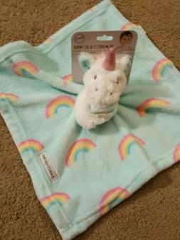 Blankets & Beyond Girls Plush Unicorn Rainbow Security Blank