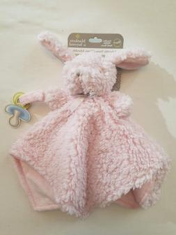 Blankets and Beyond Pink Rosette Bunny Nunu Baby Security Bl