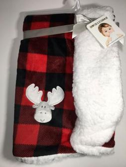 Blankets And Beyond Red and Black Plaid Baby Blanket. Moose