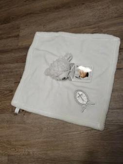 Blankets & Beyond White Teddy Bear Christening Cross Lovey S