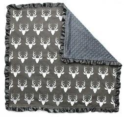 Dear Baby Gear Blankets, Antlers on Grey, Grey Minky, 32 Inc