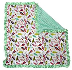 Dear Baby Gear Baby Blankets, Bright Feathers on White, Mint