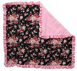 Dear Baby Gear Baby Blankets, Vintage Floral Roses on Black,