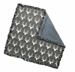 Dear Baby Gear Baby Blankets, Antlers on Grey, Grey Minky, 3