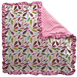 Dear Baby Gear Baby Blankets, Bright Feathers on White, Pink