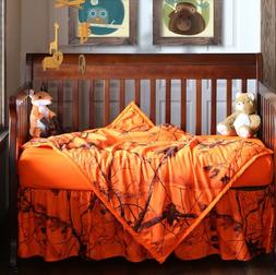 Realtree Blaze Orange Camo Baby Toddler Crib Set, Bedding Sh