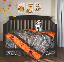 Realtree Blaze Orange Camo Crib Set, Baby Toddler Bedding, Q