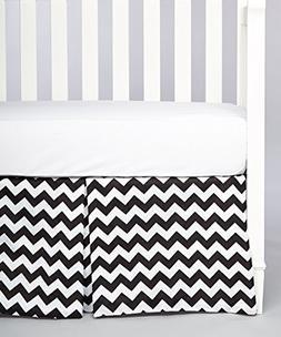 Rockingham Road Blk Chevron Crib Bed Skirt