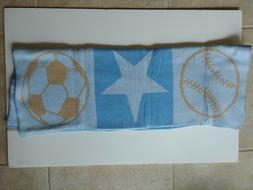 Elegant Baby Blue/Brown Blanket Ball Star Football Baseball