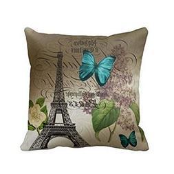 Hatop Blue Butterflies Paris Eiffel Tower Print Throw Pillow