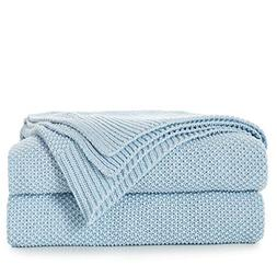 100% Cotton Light Blue Cable Knit Throw Blanket with Bonus L