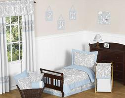 Sweet Jojo Designs Blue & Gray Damask Girl Boy Toddler Cotto