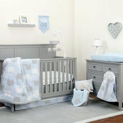 Blue Gray Elephant 8 pc Crib Bedding Set Baby Boy Nursery Bl