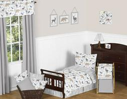 Sweet Jojo Designs Blue Grey and White Woodland Animal Fores