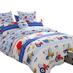 Brandream Blue Kids Boys Bedding Trucks Tractor Bedding Supe