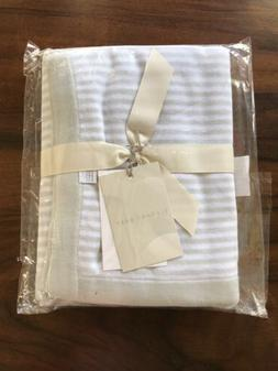 Elegant Baby Blue Mini Stripe Cotton Knit Baby Blanket